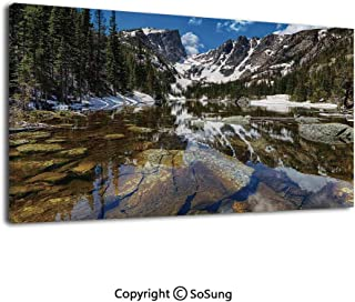 Modern Gallery Wrapped Canvas Wall Art Dream Mirroring Lake at The Mountain Park in West America River Snow Away Photo Ready to Hang for Living Room Kitchen Home Decor,24x48inch Green Brown Blue