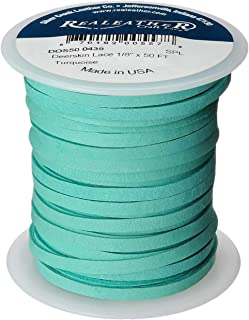 Realeather DOS50 0439, Turquoise Deerskin Leather Lace, 1/8