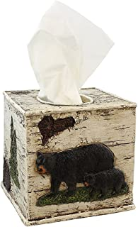 Black Bear on Birch Bathroom Accessories (Tissue Box Cover)