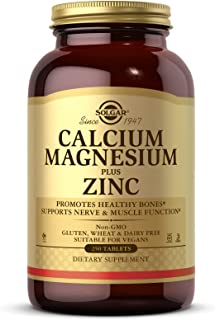 Solgar Calcium Magnesium Plus Zinc, 250 Tablets - Promotes Healthy Bones and Teeth - Supports Nerve & Muscle Function - No...