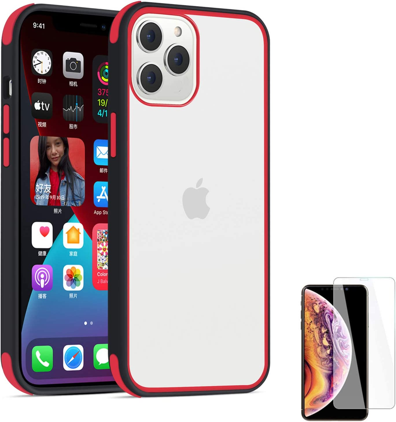 Crystal Clear Case Compatible with iPhone 12 Mini 5.4 inch (2020),Heavy Duty Protective Hard Back PC Soft Shockproof Bumper Cover with Screen Protector (Black Edge+Red)