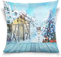 "MASSIKOA Blue Christmas Log Cabin Snow Decorative Throw Pillow Case Square Cushion Cover 18"" x 18"" for Couch, Bed, Sofa or..."