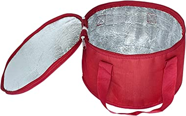Yalin 2 Pack Round Lunch Bag,Insulated Thermal Pastry and Pie Carrier,Reusable Insulated Cake Cooler Casserole Carrier Bags f