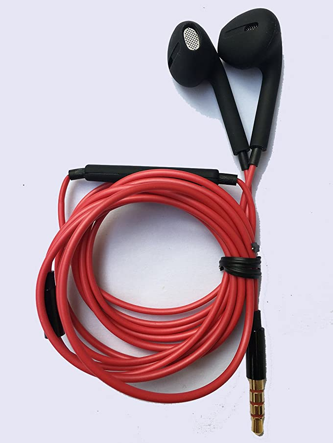 傾向部族マージPorxintor Wired Earphones with Microphone 3.5mm Jack and Volume Control for iPhone 6/6s Sumsung Huiwei (Red-black)