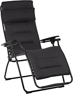 Lafuma Futura Air Comfort Zero Gravity Recliner (Acier Black) Padded Folding Outdoor Reclining Chair