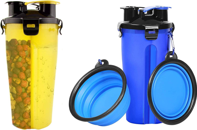 Botella De Agua Portátil para Mascotas Y Recipiente De Comida para Viajes Botella 2 En 1 De Doble Cámara Alimentador De Agua para Perros Y Gatos Botella De Comida para Viajes Al Aire Libre (2 Piezas)
