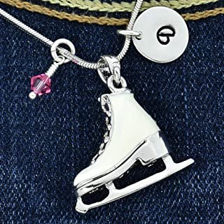 Figure Ice Skate Necklace Personalized Ice Skating White Shoe Pendant Hand Stamped Initial Letter Charm Sparkling Crystals Birthstone Charm Chain Custom Gift Jewelry