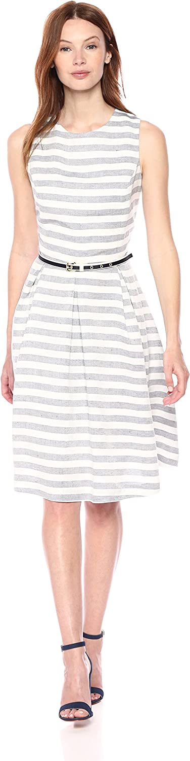 Nine West Womens Striped Fit and Flare Dress with Self Belt Dress