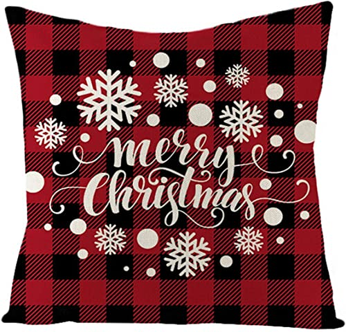 2021 OPTIMISTIC Christmas Pillow Case wholesale Cover Checked Plaid Throw Pillow Case Cover online Square Cushion Pillowcase for Home Decor, 18x18 Inches Winter Holiday Sofa Pillow Covers online