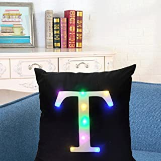 """SIDELI Creative LED Colorful Flashing Velvet Letter Cushion Cover Pillow Cover Bar Use Party Use Festival Use Gift Use18""""x18"""" or 45cm x 45cm 1pc (T)"""