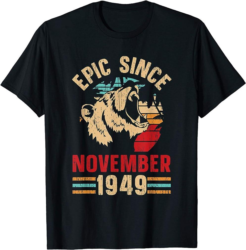Epic Since November 1949 70th Birthday Vintage Retro Gift T-shirt
