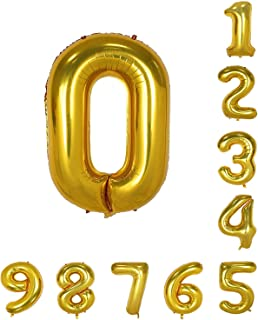 House of Quirk 16 Inch 0 Number Balloon Gold Foil Large Number Giant Helium Balloon Birthday Party Decoration(Pack of 1) - Gold