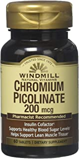 Chromium Picolinate 200 mcg Tablets by Windmill - 60 ea