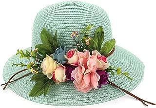 New Straw Hat Ladies Beach Large Dome Shade Garden Flowers Big Sun Bowl Fisherman Fruit Green Adjustable,OneSize,MilkWhi