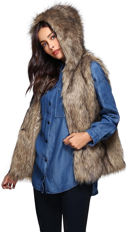 Escalier Womens Warm Faux Fur Vest Hooded Waistcoat Sleeveless Jacket Outerwear