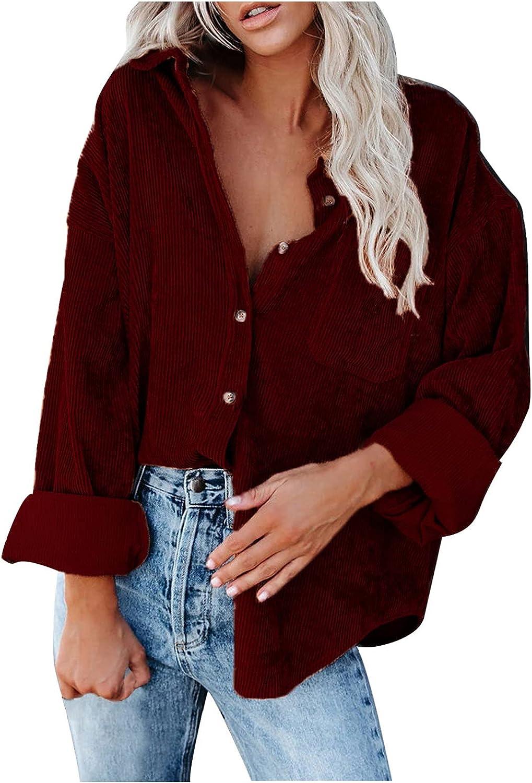 Corduroy Jacket for Women Autumn Chic Vintage Casual Jacket Lapel Collar Solid Button Jacket Coat