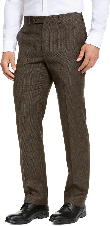 Ralph Lauren Mens Brown Flat Front Plaid Pants 33W/ 32L