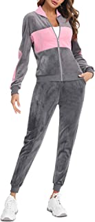 Velour Tracksuit for Women Set Full Zip Up Hoodie Tracksuits Casual Sweatsuits Sets with Pockets
