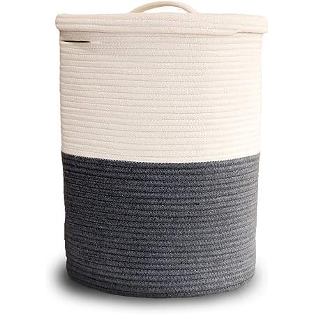 Cesta de lavandería grande con tapa, cesta de lavandería alta con tapa, cesta de almacenamiento tejida de cuerda de algodón para mantas, almohadas, toallas, ropa, juguetes, cuarto de baño, sala de estar, cocina, color gris y blanco
