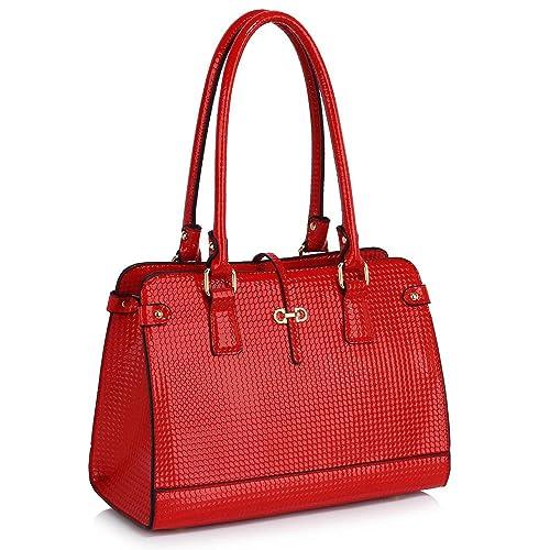 Ladies Shoulder Bag Women Designer Handbag Medium Size Patent leather Top  Handle Patterned Luxury Look ff8db6cc55622