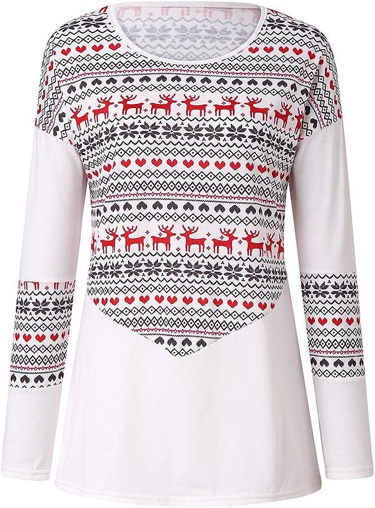 Yoyorule Tops Women Casual Long Sleeve Christmas Printed Deer Top Blouse Round Neck Shirts Pullover Sweatshirt Tops