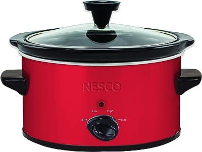 NESCO SC-150R, Oval Slower Cooker, Red, Ceramic, 1.5 quart, 120 watts