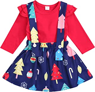 Toddler Kids Baby Girls Outfits Ruffle Top Christmas Tree Suspender Skirt Set 2PCS Clothes Set Winter