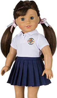 My Genius Dolls CUSTOMIZABLE School Uniform for American Girl Doll | Your Own School Logo | DIY Accessories and Clothes | Fits All 18 inch Dolls like Our Generation, My Life,Packed (White)