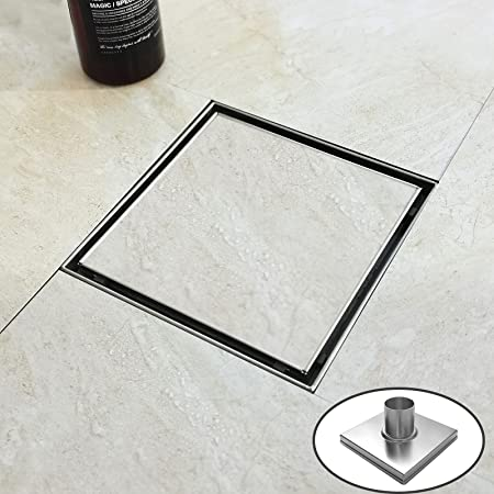 """Bernkot Square Shower Drain 6"""" Tiled Insert Grate Brushed 304 Stainless Steel with Hair Strainer Fits US Flange Drain Base System"""