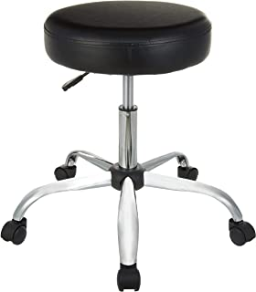 AmazonBasics Multi-Purpose Drafting Spa Bar Stool with Wheels - Black, BIFMA Certified