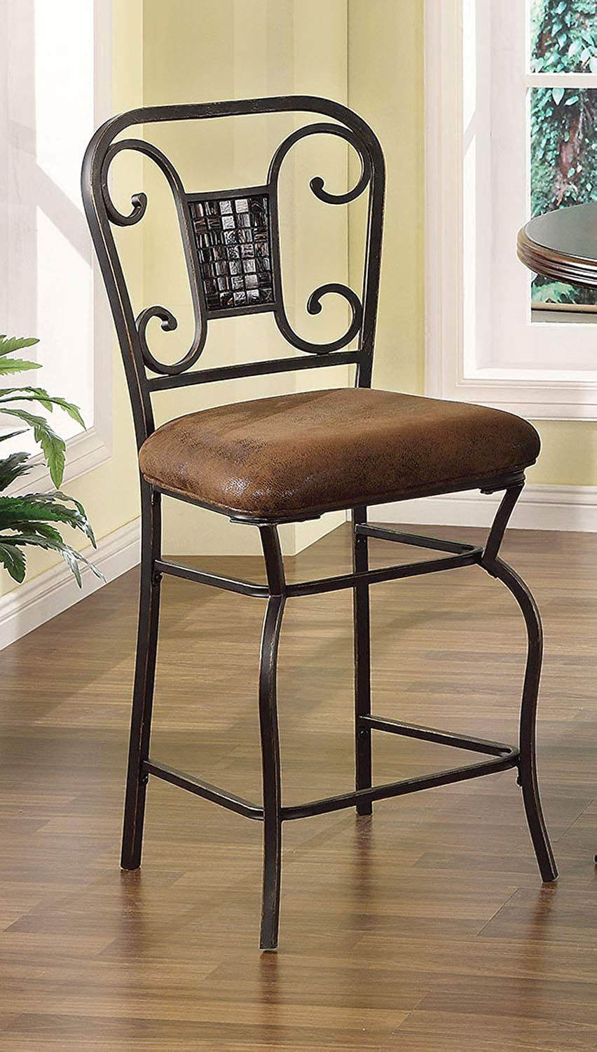 Home Roots Furniture Scrolled Pattern Design Counter Height Chair - Set of 2