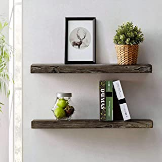HSH Rustic Wood Floating Shelf, Rugged Reclaimed Solid Wooden Wall Shelf, Farmhouse Industrial Vintage Mount Shelving, Natural Pine, 30 x 7.1 Inch, Set of 2