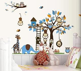 CHengQiSM Wall Sticker Decals Rainbow Fox Kids Wall Decal Jungle Owl Monkey Tree Decorative Nursery Wall Stickers for Children Bedroom Kindergarten Room Playroom Wall Mural