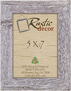 Rustic Decor 5x7 Picture Frames - Barnwood Reclaimed Wood Standard Photo Frame