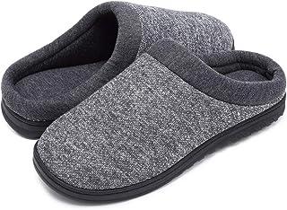 شباشب رجالي من Coolloog مسامية من الإسفنج الذكي مع نعل مطاطي مريح غير قابل للانزلاق ونعل من المطاط أحذية قطنية دافئة للشتاء
