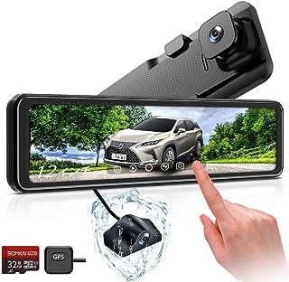 SOMKAI ドライブレコーダー12インチタッチパネル 純正 Sony415センサー 1296P前後カメラ反射防止 GPS搭載 170°超広角 タイムラプス駐車監視 WDR 暗視機能 電波障害対策 防水構造 32GB SD卡付 S03