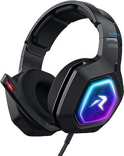 Redlemon Audífonos Gamer con Sonido HD 360° y Luz LED RGB, Micrófono con Cancelación de Ruido, Cable Auxiliar 3.5 mm, Cable de Nylon Trenzado 2m, Compatible con PC, Consolas y Smartphone, Mod. G3500