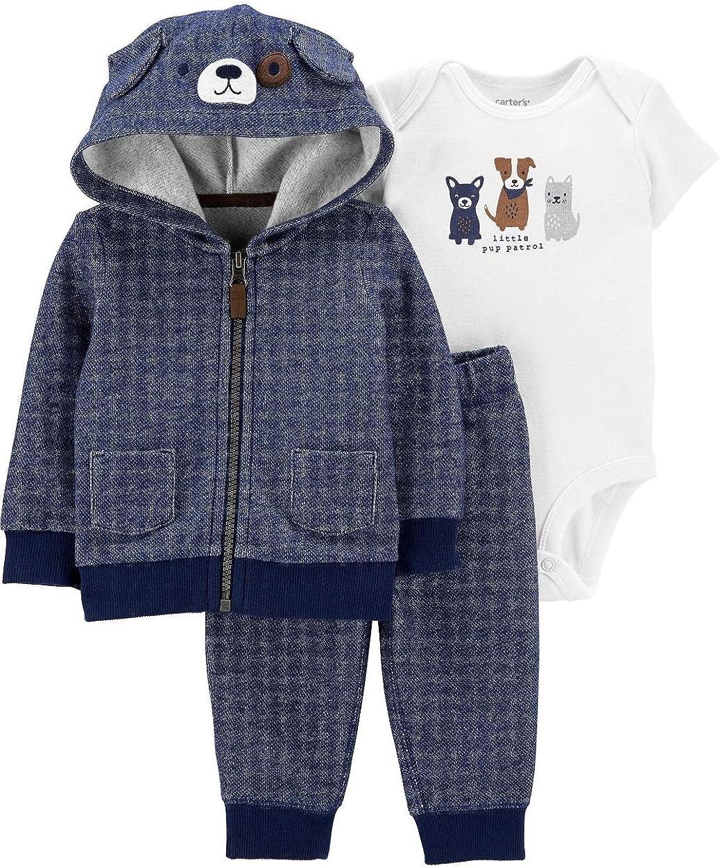 Carter's Baby Zip-Front Design 3-Piece Dog Little Jacket Set Size Newborn Navy/White