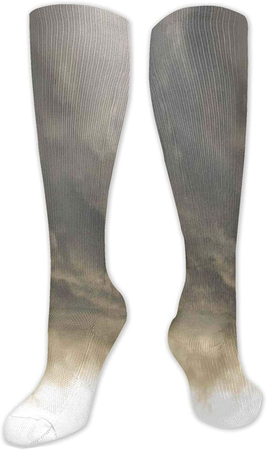 Compression High Socks-Abstract Blue Sea With Tiny Waves Smiling Swimming Diving Fish With Fins Aquatic Best for Running,Athletic,Hiking,Travel,Flight