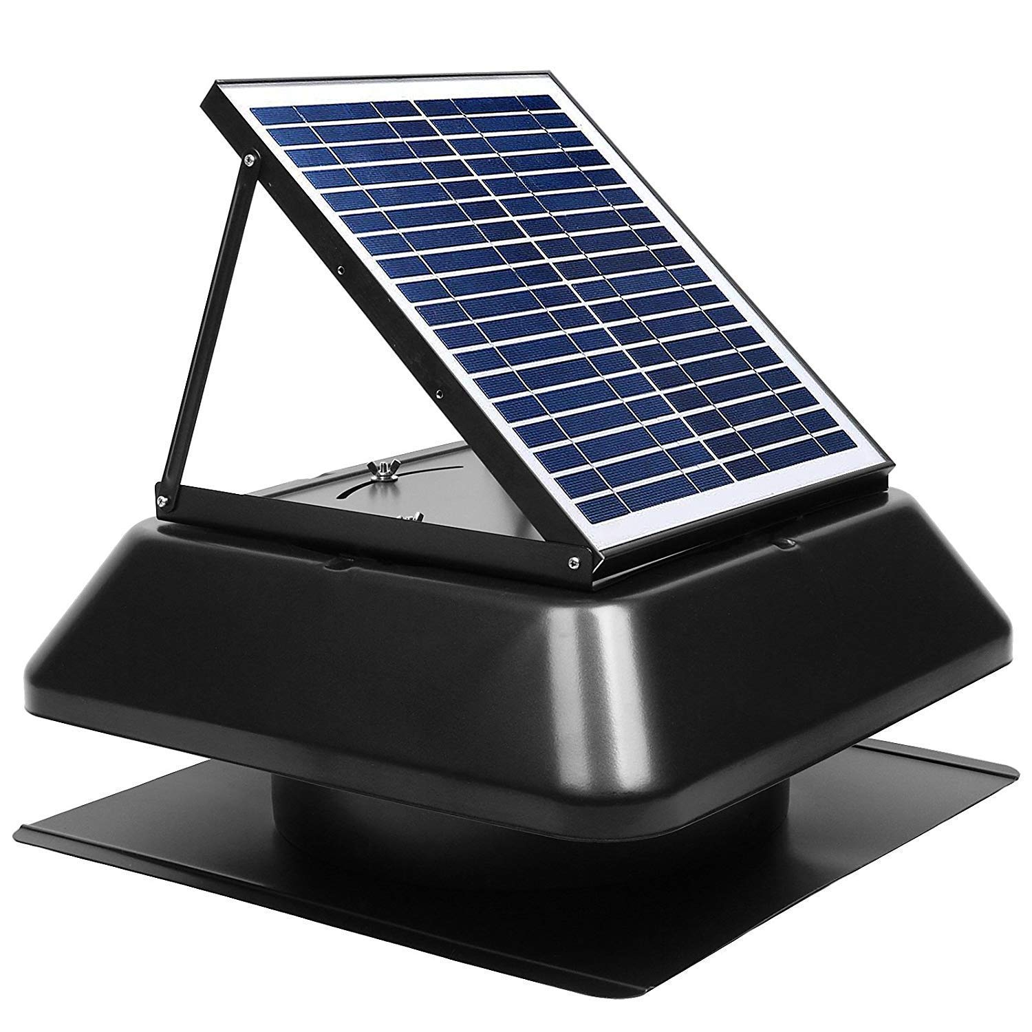 GBGS Solar Attic Fan Surface Mount 1750 CFM, IP68 Brushless DC Motor,  Adjustable Panel, 14 inches 7 Fan Blades, 40db, Double Rust Free  Anti-Aging, Easy Install, Size 23.6X23.6X9.8 in, 29 lb/Unit - -Amazon.com