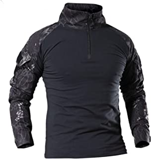 Men's Military Tactical Long Sleeve Shirt Breathable Hunting Combat T Shirts Quick Dry Outdoor Tops 1/4 Front Zip Camoufla...
