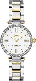 ساعة بمينا ابيض وسوار ستانلس ستيل بلونين للنساء من كوتش - 14503100