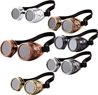 6 Pieces Vintage Victorian Steampunk Goggles Glasses Welding Cyberpunk Sunglasses for Gothic Cosplay Costume Accessories (Color Set 1)