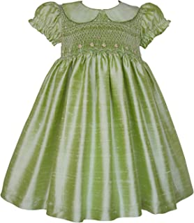Apple Green Hand Smocked Flower Girls Silk Dress
