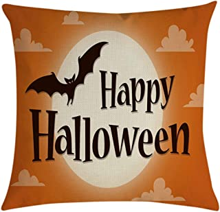 TOPBIGGER Halloween Pillow Covers Happy Halloween Castle with Pumpkin/Owl Cushion Cover Cotton Linen Home Decorations Little Witch Element Pillowcases 18x18 Inches (Happy Halloween)