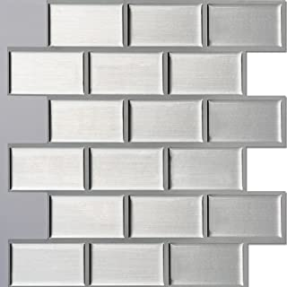 Ecoart Peel and Stick Self-Adhesive Wall Tile for Kitchen/Bathroom Backsplash in Silver Brick Style, 10
