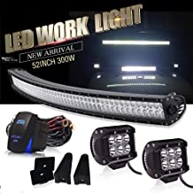 DOT Approved 52 Inch Curved Led Light Bar Offroad Roof Upper Windshield Light + 4