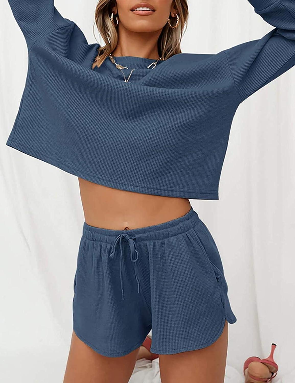 MEROKEETY Womens Long Sleeve Pajama Set Henley Knit Tops and Shorts Sleepwear Loungewear