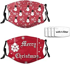 2 Pcs Christmas Snowflakes Christmas Mask Snowman Face Mask Fashion Scarf Reusable Balaclavas For Men Women With 4 Filter