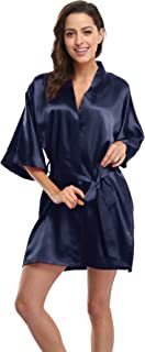 CostumeDeals KimonoDeals Women's dept Solid Color Soft Satin Short Kimono Robe Wedding